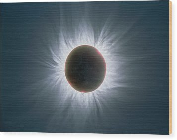 Total Solar Eclipse With Corona Wood Print by Dr Fred Espenak