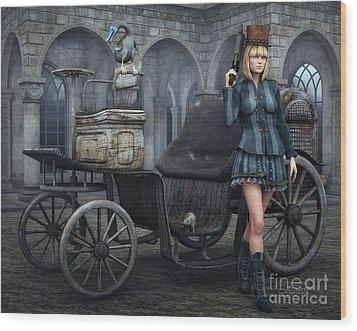 Tough Lady Wood Print by Jutta Maria Pusl
