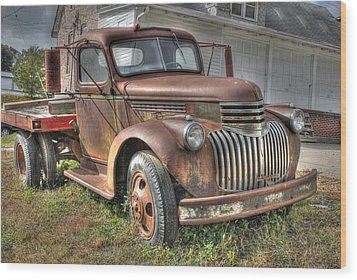 Tough Old Workhorse Wood Print by J Laughlin