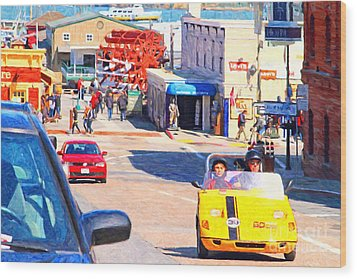 Touring San Fracisco Fishermans Wharf In An Electric Gocar . 7d14100 Wood Print by Wingsdomain Art and Photography