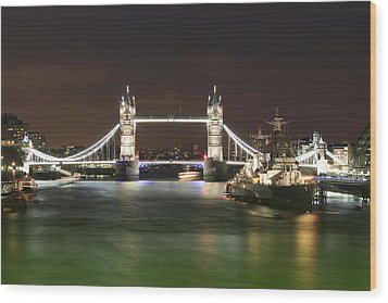 Tower Bridge And Hms Belfast At Night Wood Print by Jasna Buncic