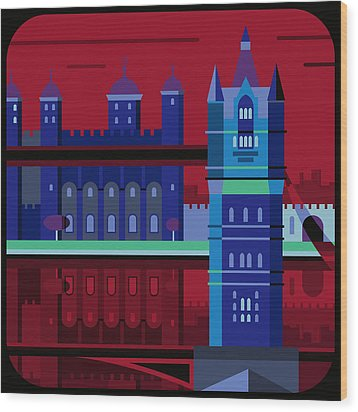 Tower Bridge And The Tower Of London, United Kingdom Wood Print by Nigel Sandor