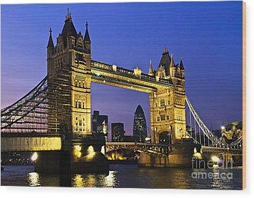 Tower Bridge In London At Night Wood Print by Elena Elisseeva
