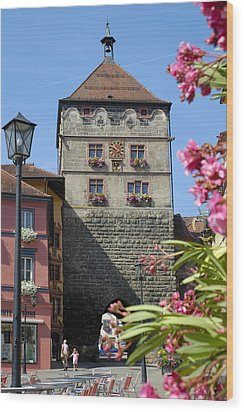 Tower In Old Town Rottweil Germany Wood Print by Matthias Hauser