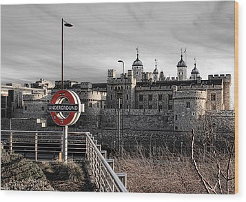 Tower Of London With Tube Sign Wood Print by Jasna Buncic