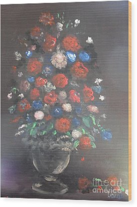 Wood Print featuring the painting Towering Bouquet by Laurie L
