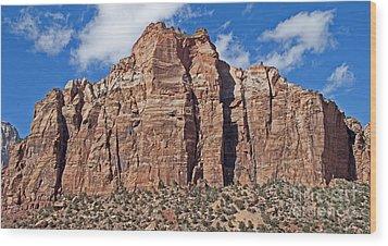 Towering Cliffs Wood Print by Bob and Nancy Kendrick