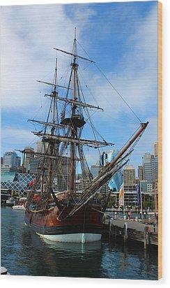 Towering Ship Wood Print by Harlan Fijal-Campbell