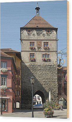 Town Gate Schwarzes Tor In Rottweil Germany Wood Print by Matthias Hauser