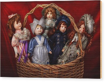 Toy - Dolls - A Basket Of Victorian Dolls  Wood Print by Mike Savad