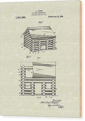 Toy Cabin 1920 Patent Art Wood Print by Prior Art Design