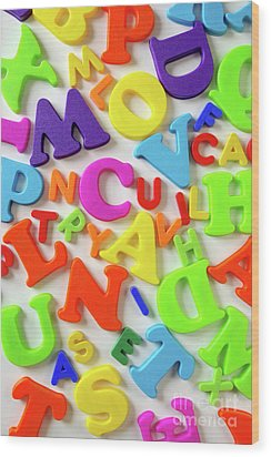 Toy Letters Wood Print by Carlos Caetano