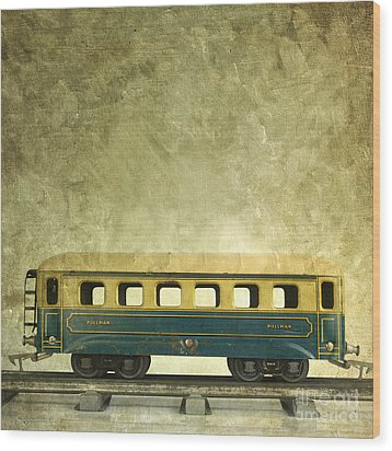 Toy Train Wood Print by Bernard Jaubert