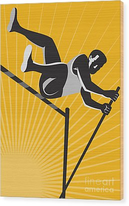 Track And Field Athlete Pole Vault High Jump Retro Wood Print by Aloysius Patrimonio