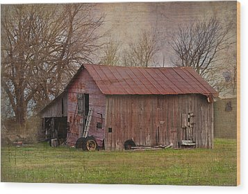 Tractor Barn Wood Print by Lisa Moore