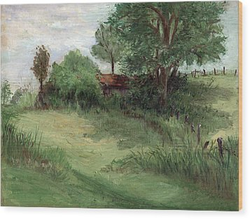 Tractor Shed Wood Print by Ethel Vrana