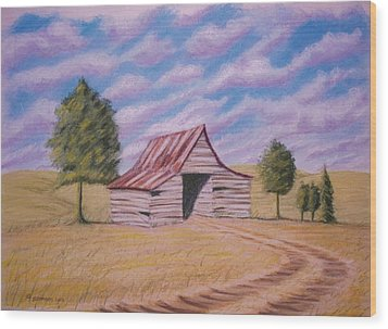 Wood Print featuring the pastel Tractor Shed by Stacy C Bottoms