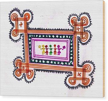 Tradition Art-aunties In Rangoli Wood Print by Poornima M