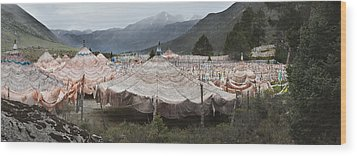Traditional Buddhist Prayer Flags Wood Print by Phil Borges