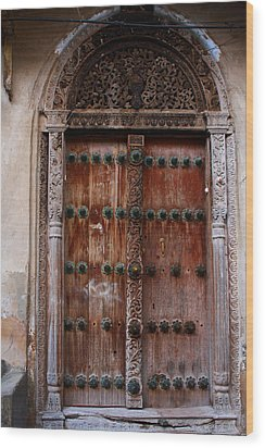 Traditional Carved Door Wood Print by Aidan Moran
