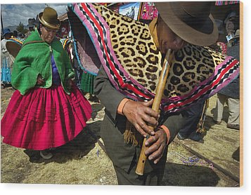 Traditional Dance Of The Bolivian Highlands. Wood Print by Eric Bauer