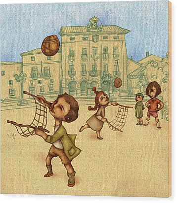Traditional Game 2 Wood Print by Autogiro Illustration