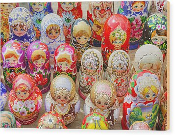 Traditional Russian Nested Dolls For Sale Wood Print by Travelif