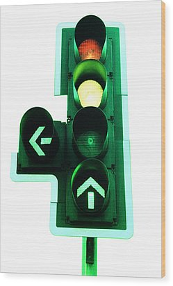 Traffic Lights Wood Print by Kevin Curtis