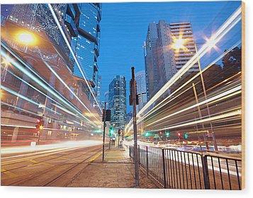Traffic Night Wood Print by Cozyta