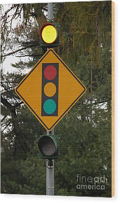 Traffic Sign Wood Print by Photo Researchers