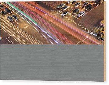 Traffic Trails Of Intersection Wood Print by SJ. Kim