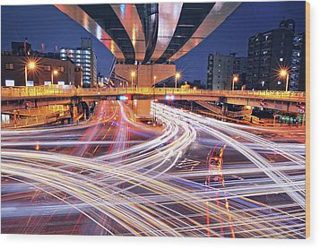 Traffic Trails Wood Print by Y2-hiro