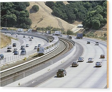 Train And Motorway, California, Usa Wood Print by Martin Bond