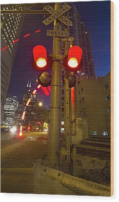 Train Crossing Lights At Dusk Wood Print by Sven Brogren