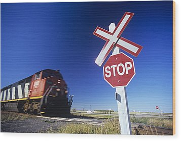 Train Passing Railway Crossing Wood Print by Dave Reede