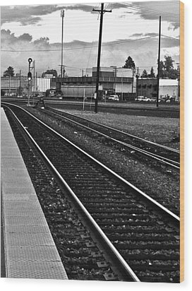 Wood Print featuring the photograph train tracks - Black and White by Bill Owen
