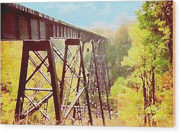 Wood Print featuring the digital art Train Trestle by Phil Perkins