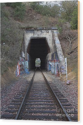 Train Tunnel At The Muir Trestle In Martinez California . 7d10220 Wood Print by Wingsdomain Art and Photography