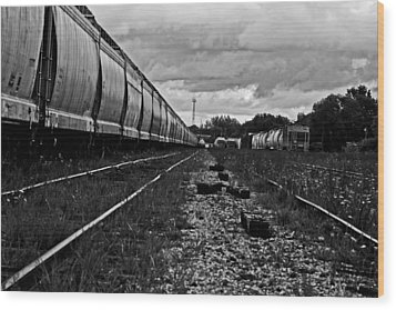 Wood Print featuring the photograph Train Yard by Randall  Cogle