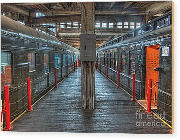 Trains - Two Rail Cars In Roundhouse Wood Print by Dan Carmichael