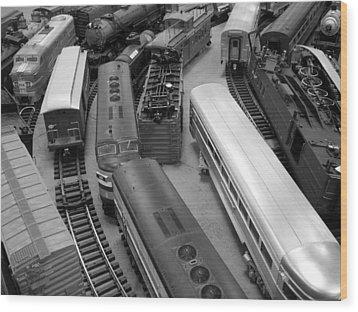 Trains 2 Bw Wood Print by Elizabeth Sullivan