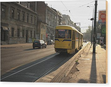 Tramway In The Morning Light Wood Print by Frederic Vigne