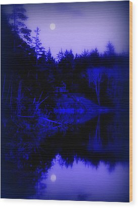 Tranquil Blue Moons Wood Print by Cindy Wright
