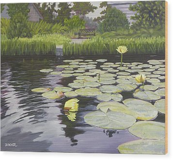 Wood Print featuring the painting Tranquility Furman Botanical Garden by Robert Decker