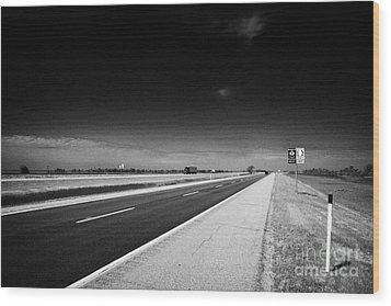 Trans Canada Highway 1 And Yellowhead Route In Manitoba Canada Wood Print by Joe Fox
