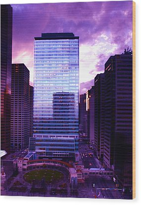 Wood Print featuring the photograph Transalta Building Purple by JM Photography