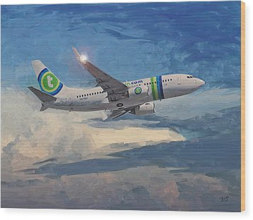 Wood Print featuring the painting Transavia Boeing 737 No2 by Nop Briex