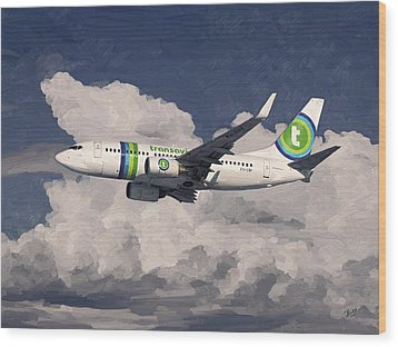 Wood Print featuring the painting Transavia Boeing 737 by Nop Briex