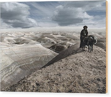 Traveling Through The Desert Wood Print by Munir Alawi