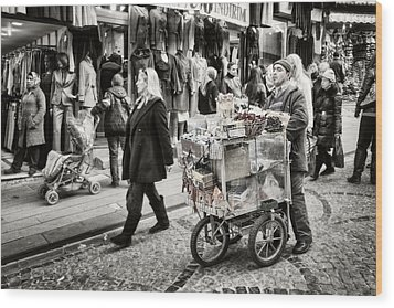 Traveling Vendor Wood Print by Joan Carroll